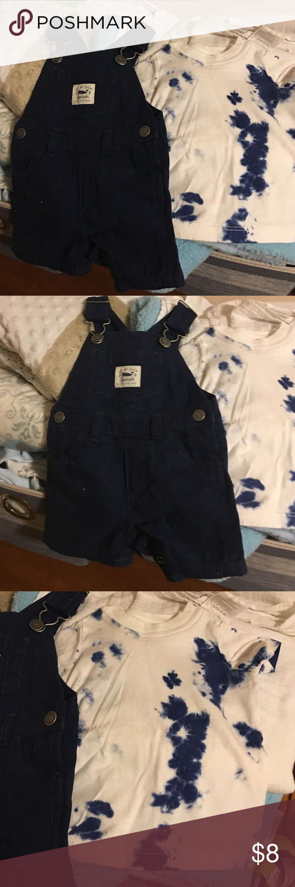 Overall outfit baby boy with tiedie top Navy blue overalls with tidedye t shirt baby boy size 3 months like new worn once Carter's Matching Sets