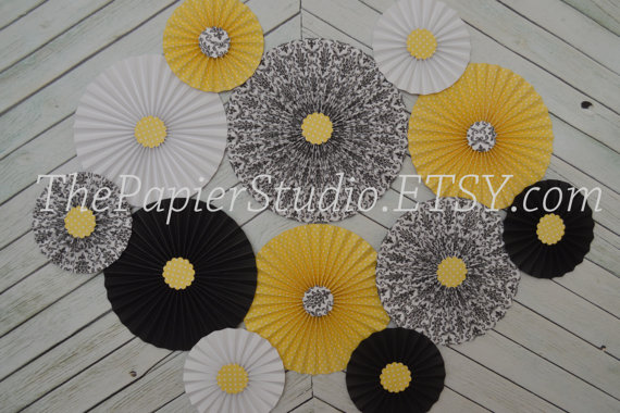 Black and  Yellow and White Set of Twelve (12) Paper Rosettes/Fans