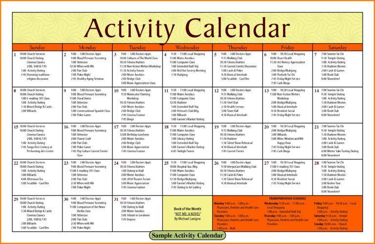 Activity Calendar Template Printable Week Calendar in