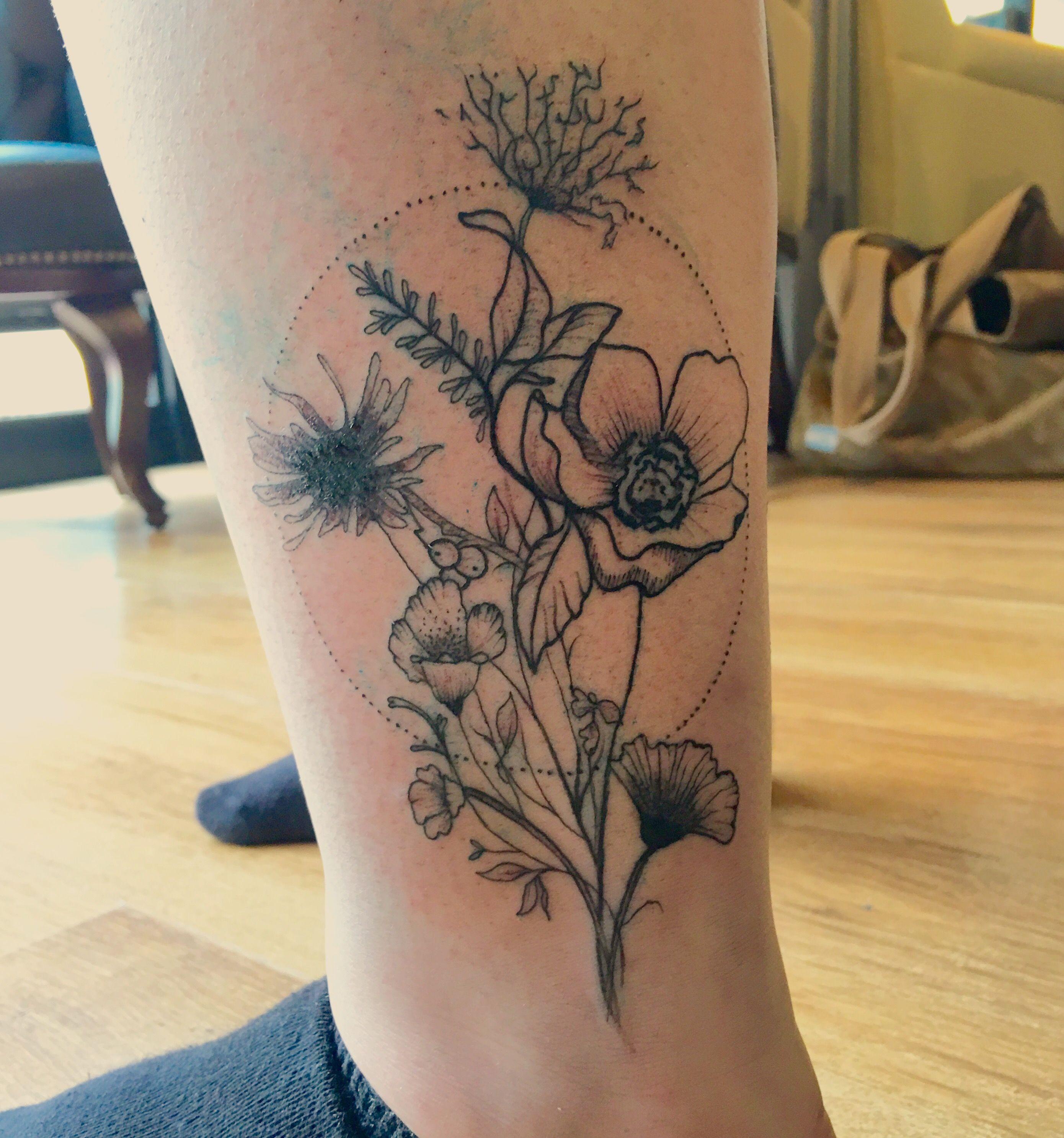 Love my new wildflower tattoo … Tattoos Pinterest