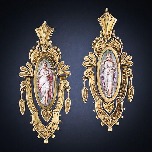 Victorian Etruscan Revival Enamel Earrings in 22 Carat Gold