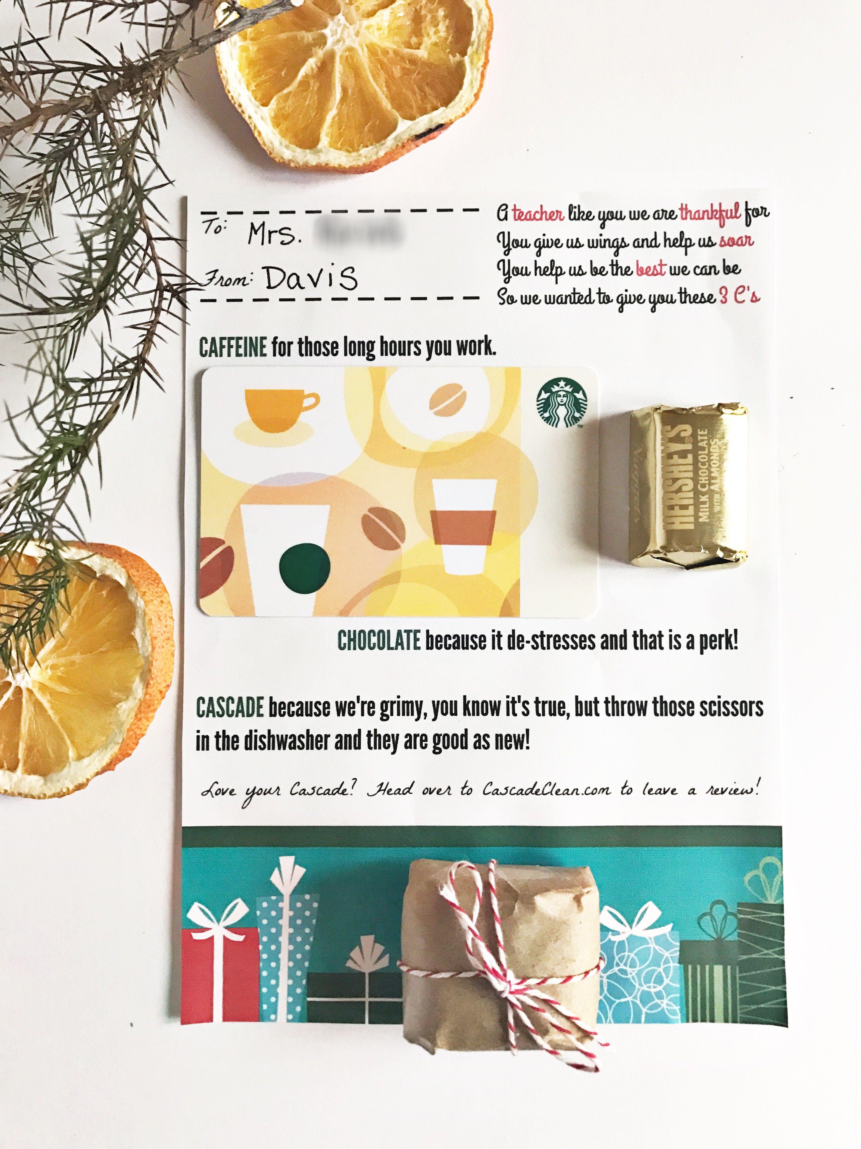 Last Minute Free Printable Teacher Gift Card | Teacher ...