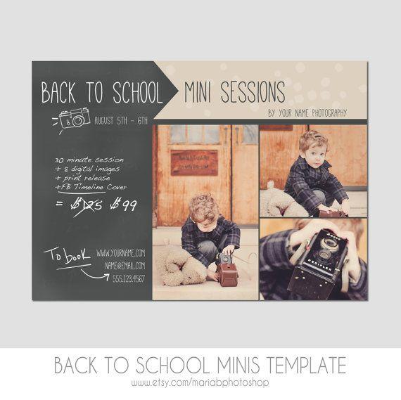 mini session postcard photography template flyer back to school kids chalkboard. Black Bedroom Furniture Sets. Home Design Ideas