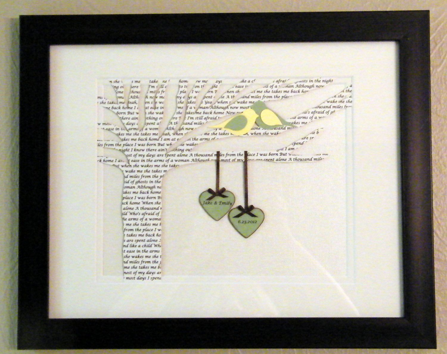 Personalized First Year Anniversary Gift Wedding Song Lyrics Paper Tree Framed 60 00