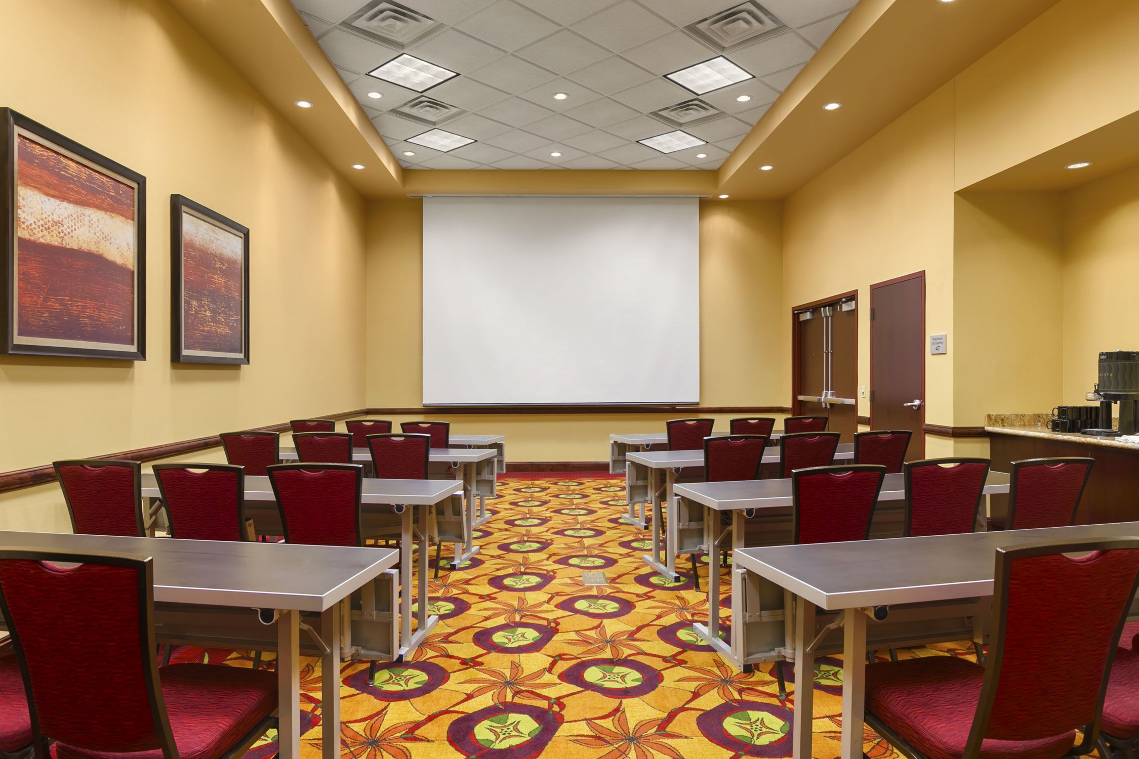 Courtyard I is pre-set as a classroom and can hold up to 24 people. The space would be the perfect for your next lecture or orientation at the Courtyard by Marriott La Vista !