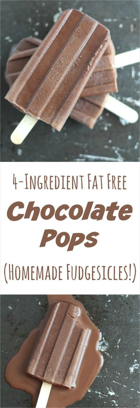No-fat, all-natural chocolate fudgesicles … with just 4 pantry-staple ingredients! These Fat Free Chocolate Pops are a kid favorite! Decadently rich and creamy, and ready for the freezer in just 5 minutes! ~ from Two Healthy Kitchens at www.TwoHealthyKitchens.com #chocolatepops