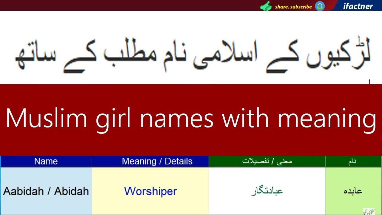 Muslim girls names with meaning in Urdu and English starting