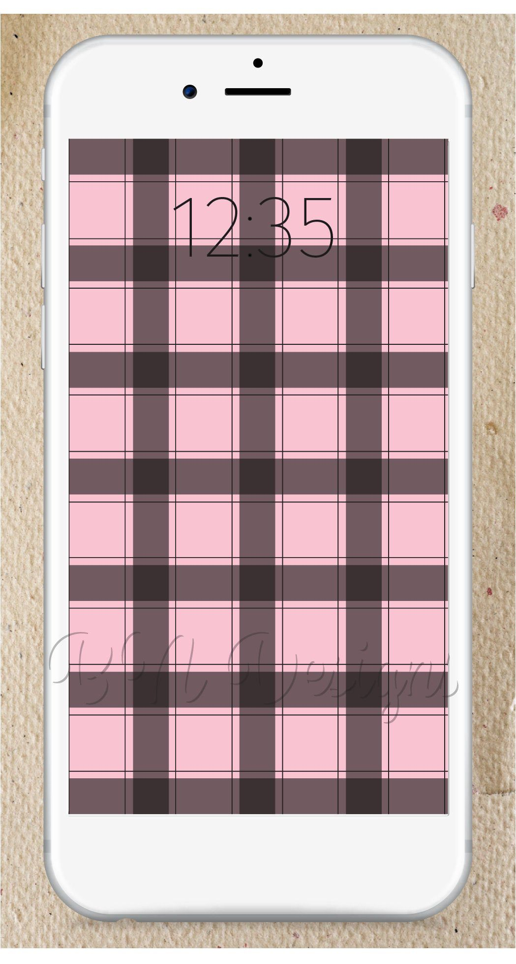 Baby Pink Plaid iPhone Downloadable Screensaver, Wallpaper