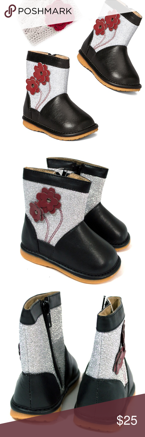 Silver & Black Floral Glitter Squeaker Boot 6, 7 These ...