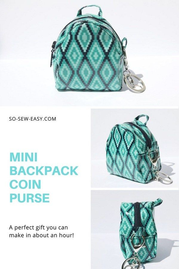 Tutorial and pattern: Mini backpack coin purse | CraftGossip 2 ...