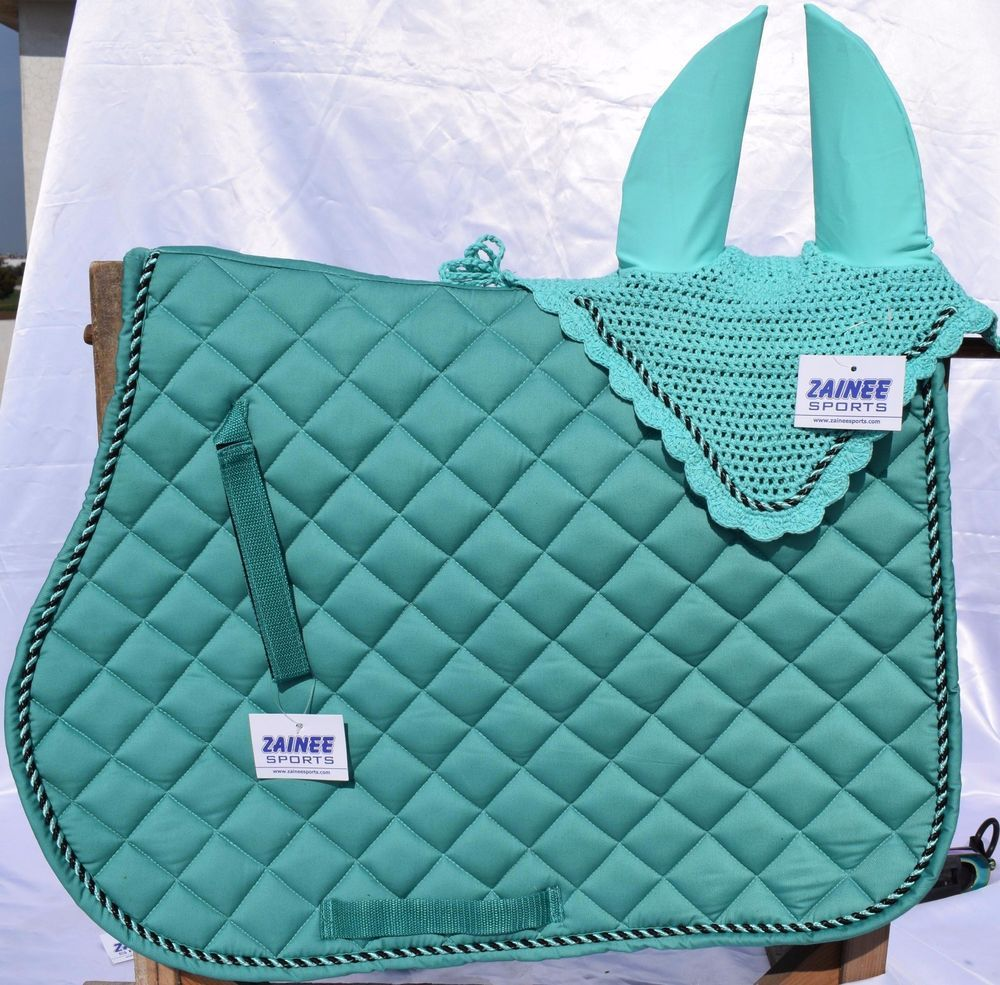 Saddle Pad with Matching Bandages Fly Veil MATCHY SET Full and Pony GREEN