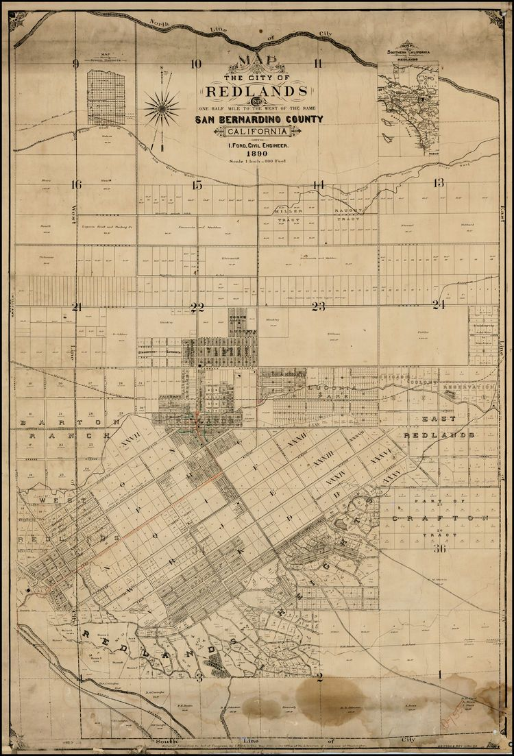 Map Of The City Of Redlands And One Half Mile To The West Of The