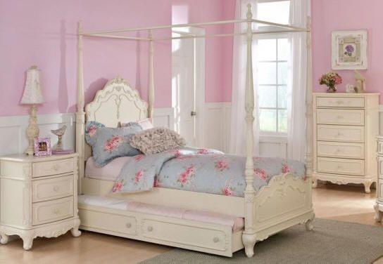 Priscilla Twin Size Canopy Bed