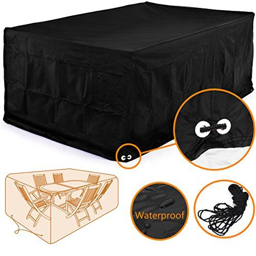 rectangular patio furniture covers. Fellie Cover 96inch Rectangular Patio Table And Chair Set Durable Garden Furniture Waterproof Black Covers