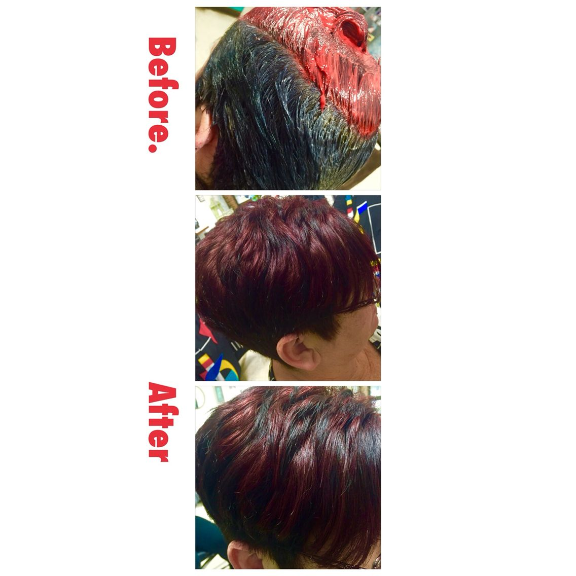 Before and after red black two tone on short hair beautiful hair