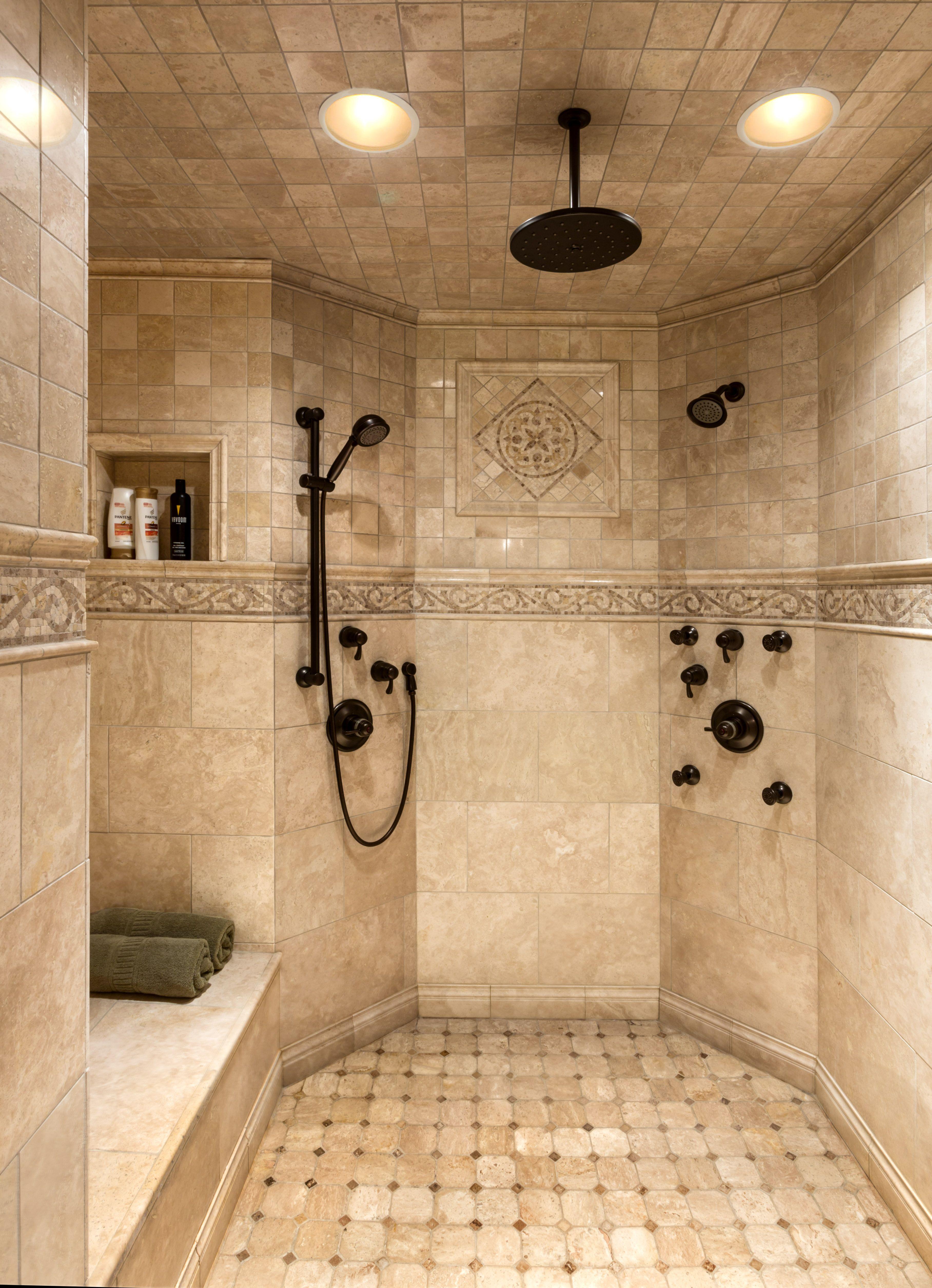 Master custom tile shower  Summit in 2019  Bathroom Dream bathrooms Bathroom tile designs
