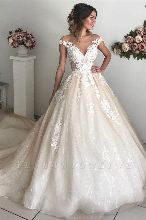 Applique OfftheShoulder Wedding Dresses Sequins