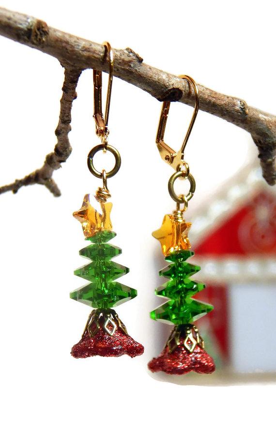 372d4989a Swarovski Christmas Tree Earrings, Crystal Holiday Jewelry, Swarovski Star  Traditional Red Green Jew