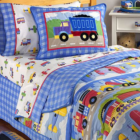 4pc HEROES Toddler COMFORTER SHEETS SET Bed in a Bag Crib Firemen Police boys