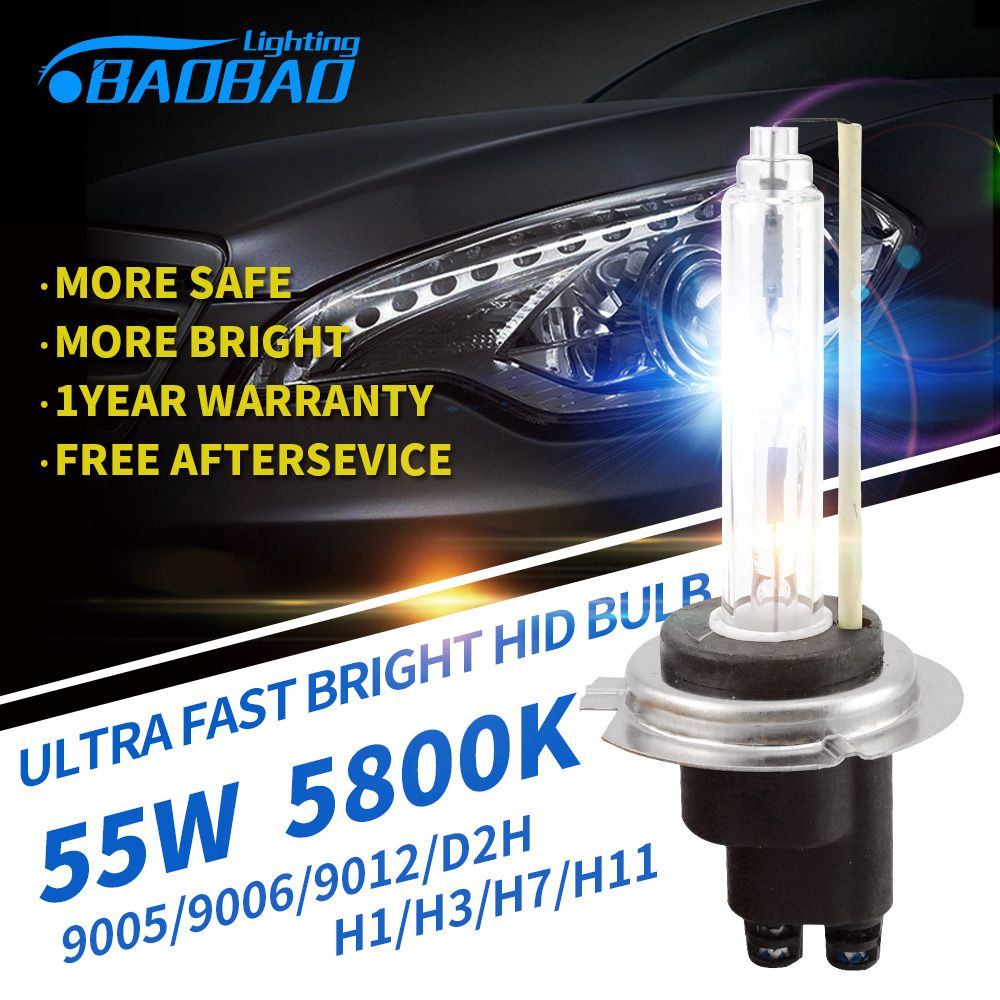 Baobao Ultra Fast Bright Car Hid Headlight Bulb 55w 5800k 5200lm Car Styling Hid Xenon Bulb H1 H3 H7 H11 9005 9006 D2h Hid Bulbs Headlight Bulbs Hid Xenon