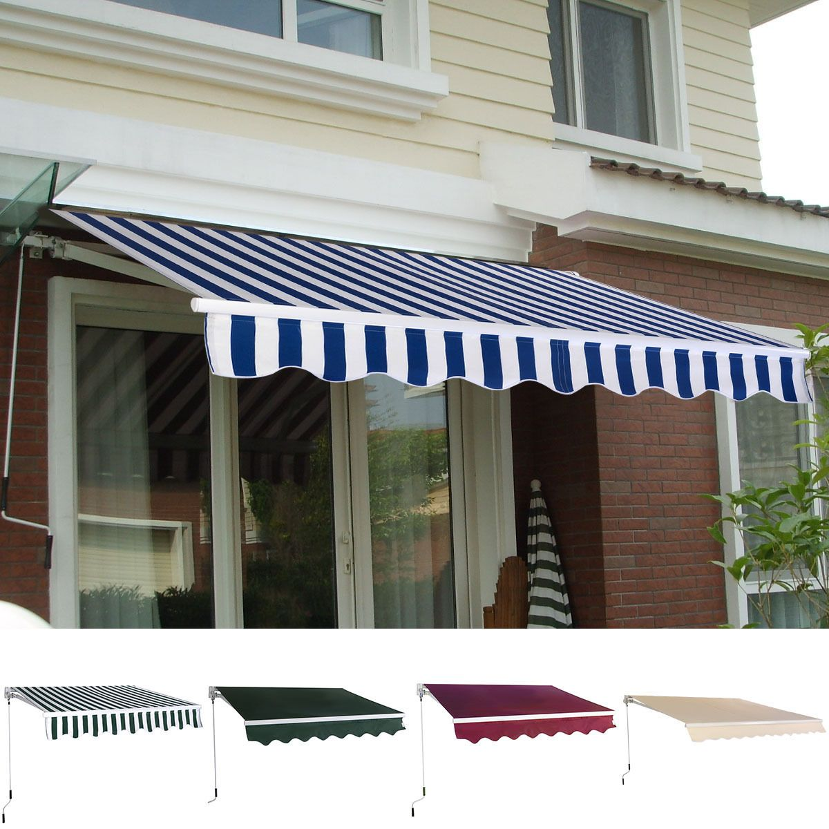 Manual Patio 8 2 6 5 Retractable Deck Awning Sunshade Shelter Canopy Outdoor Canopy Outdoor Deck Awnings Patio Awning