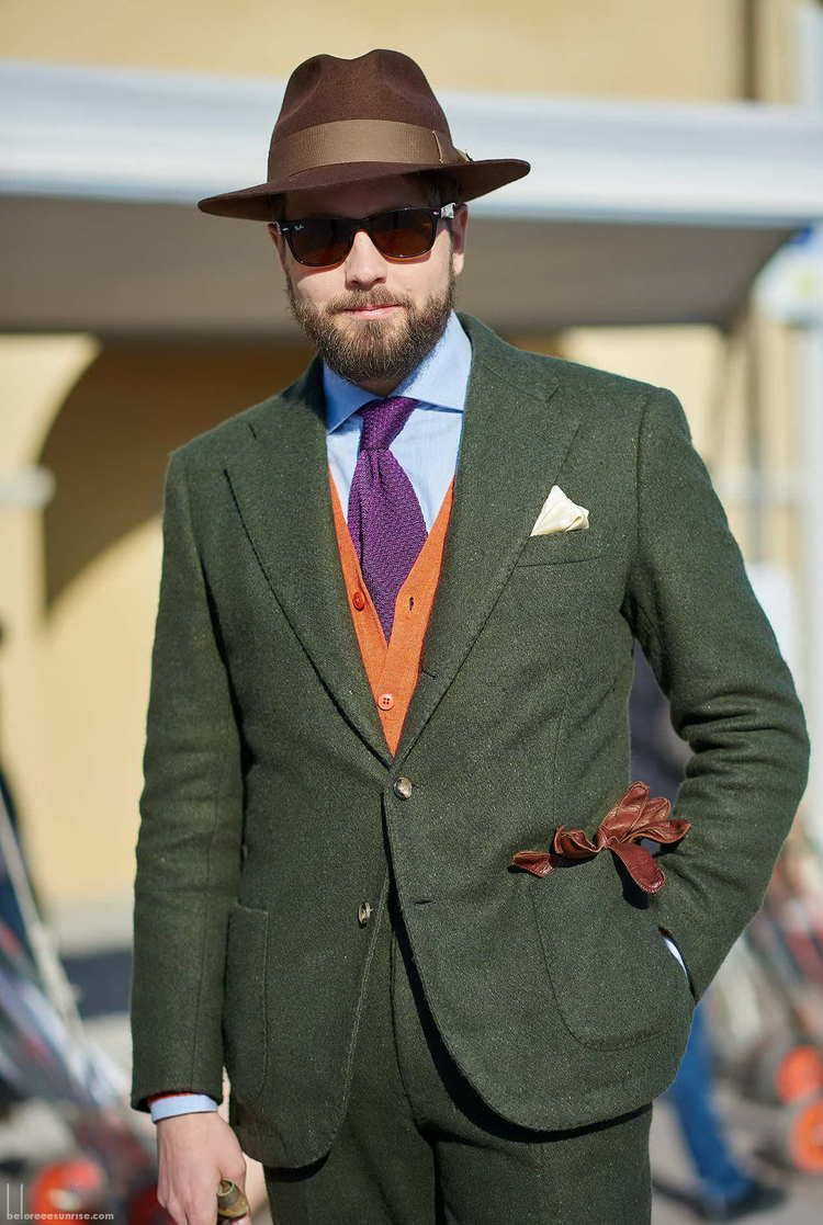 Beutiful-green-suit-with-orange-knit-vest-and-purple-knit-tie-brown-hat-and-gloves-as-seen-by-beforeeesunrise.com_.jpg
