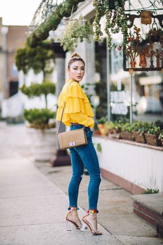 f376accefdd not jess fashion blogger top pants shoes bag blouse tumblr ruffled top brown  bag yellow yellow top ruffle denim jeans blue jeans skinny jeans sandals  sandal ...