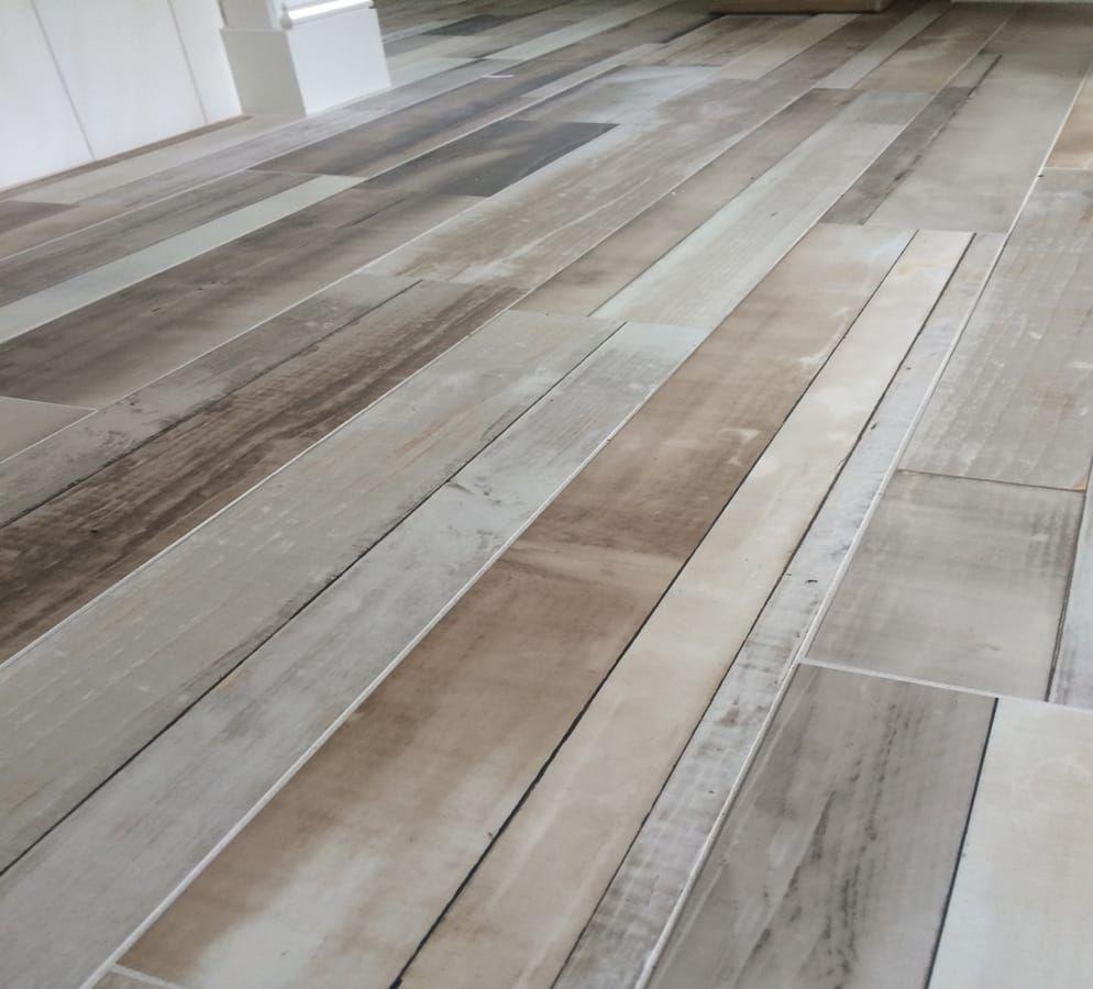 Bathroom Floor Porcelain Acadia 6x36 Beige Reclaimed Wood Tile Plank
