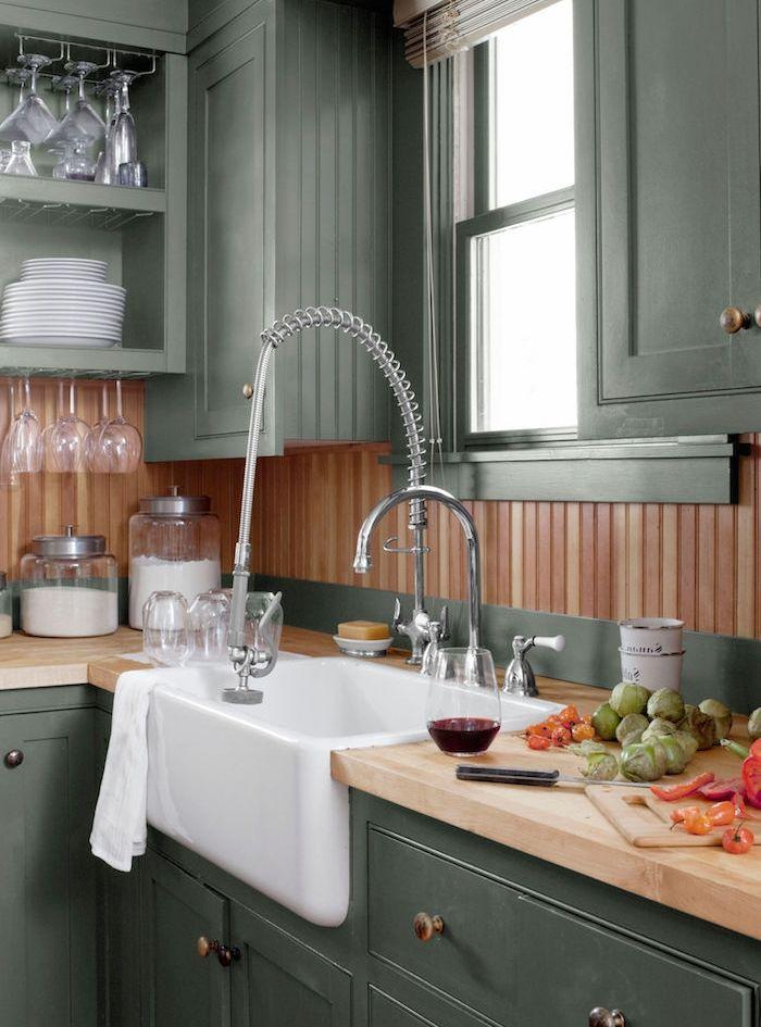 ▷ 1001 + idées pour aménager une cuisine campagne chic charmante - cuisine verte et blanche
