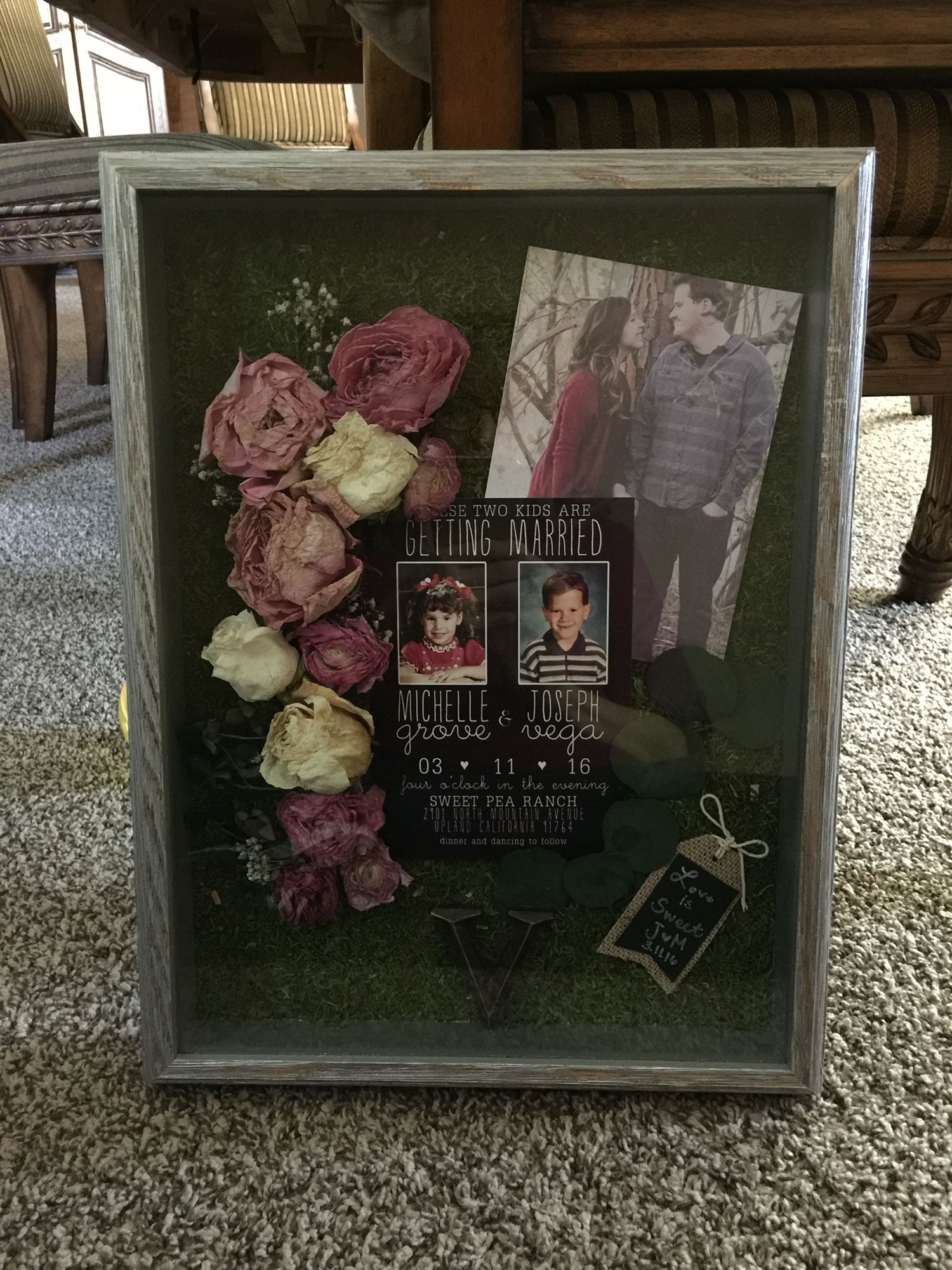Made this shadow box for my daughter, using her wedding