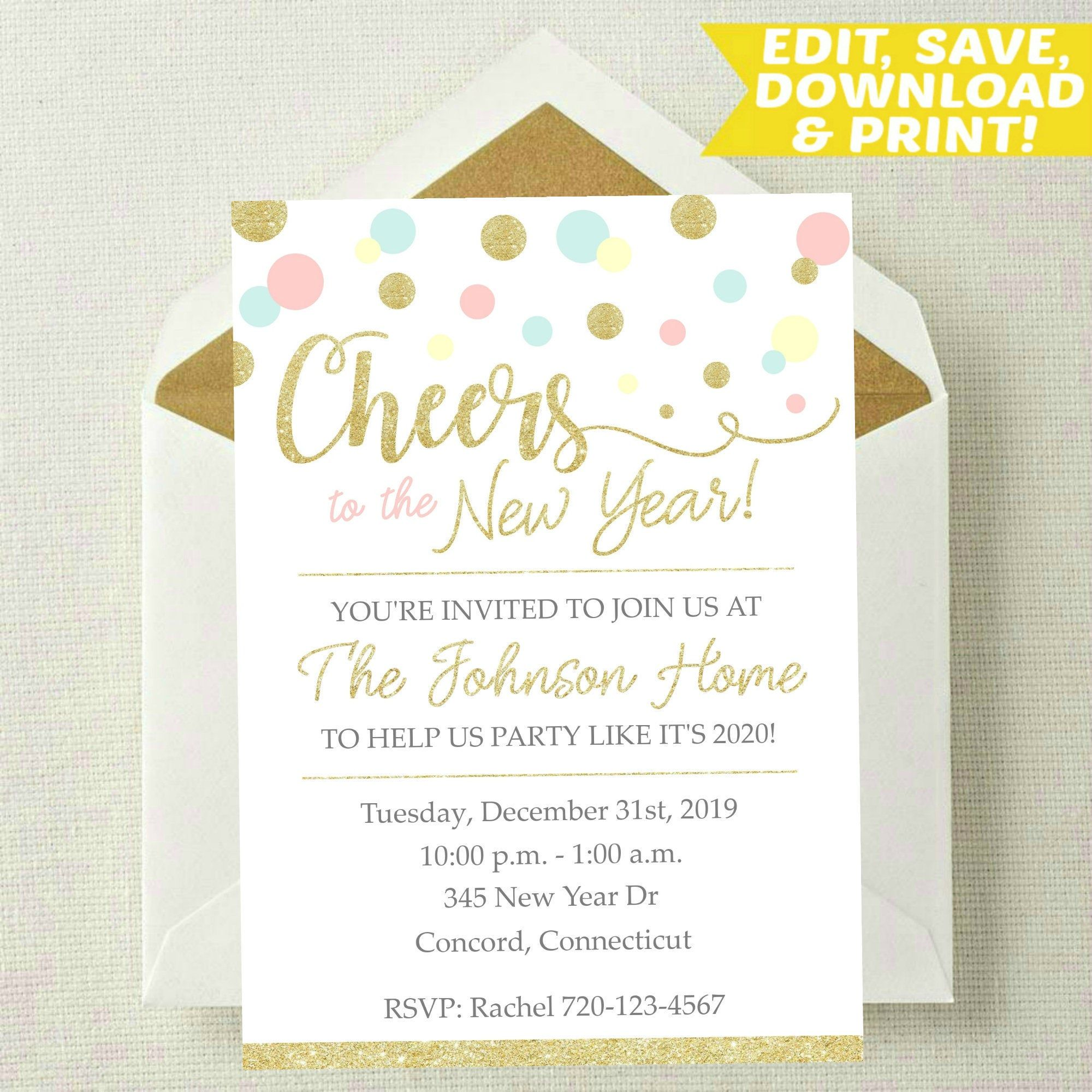 EDITABLE New Years Eve Invitation New Years Invitation