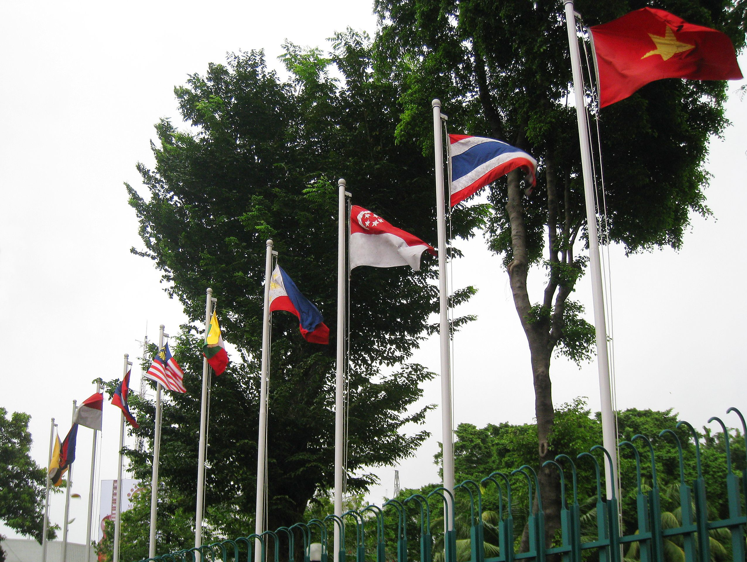 the flags of association of southeast asia nations asean members
