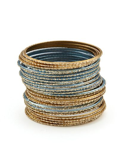Set Of 24 Dark Gold & Blue Bangle Bracelets by Chamak by Priya Kakkar on Gilt