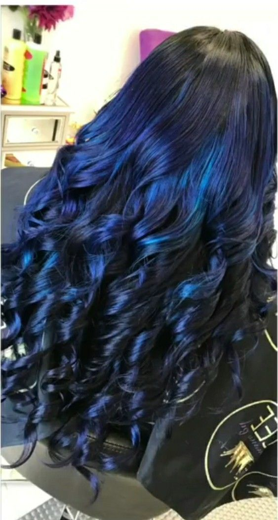 Blue Ombre Hair With Dark Black Roots Stylist