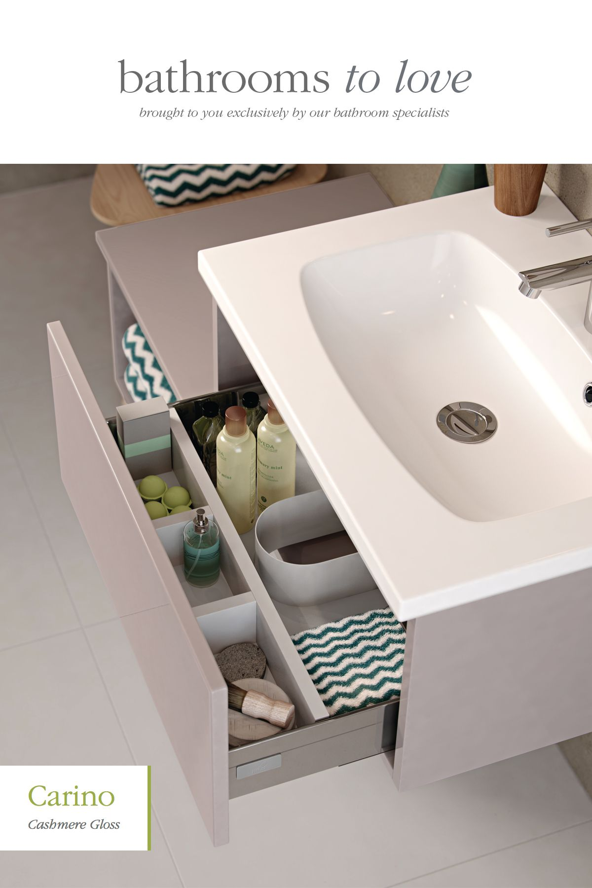 Internal drawer tidy accessory in every vanity unit bathroomstorage