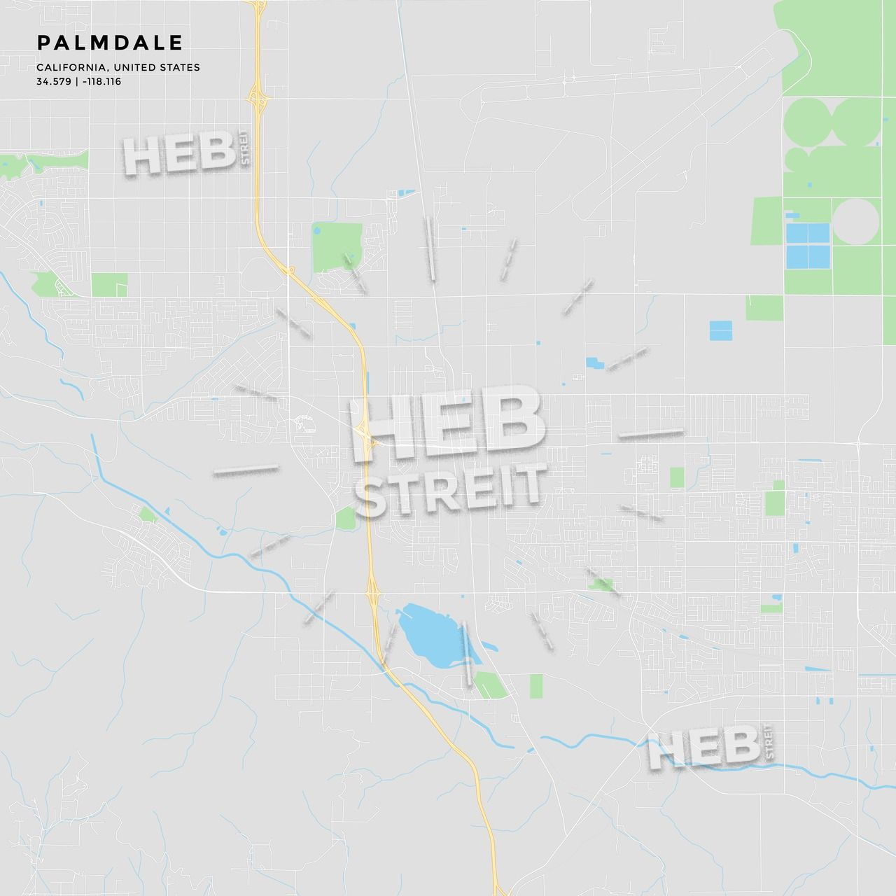 Printable street map of Palmdale, California | Maps Vector Downloads ...