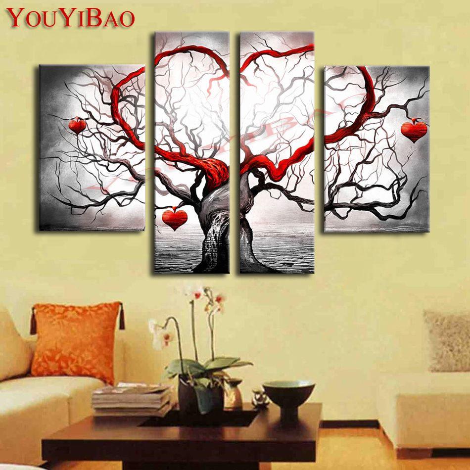 Hand Painted Modern Abstract Decoration Heart Life Tree Oil Painting ...