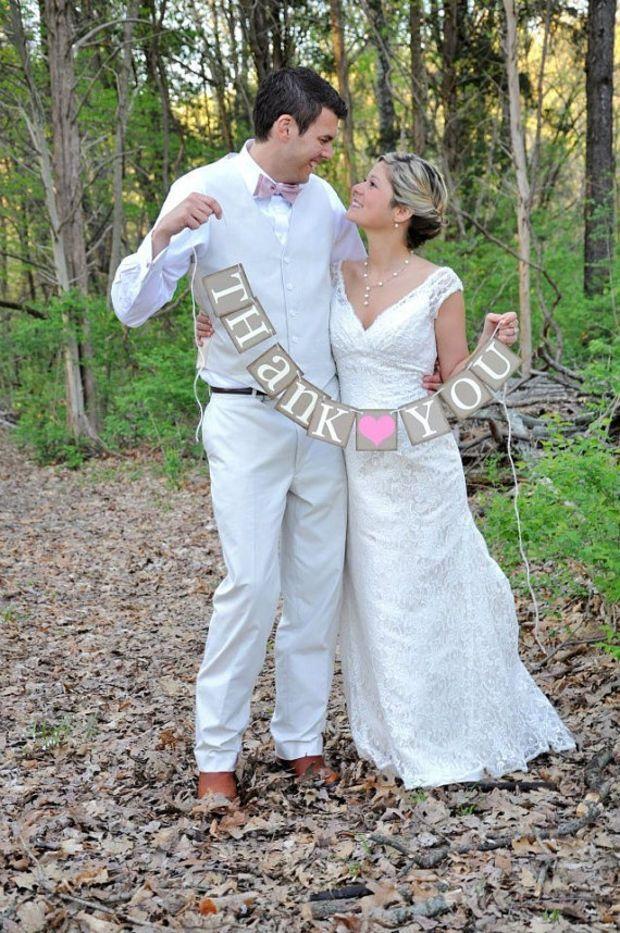 Thank You Sign - Rustic Wedding Banner Photo Prop - Wedding Sign - Wedding Decoration