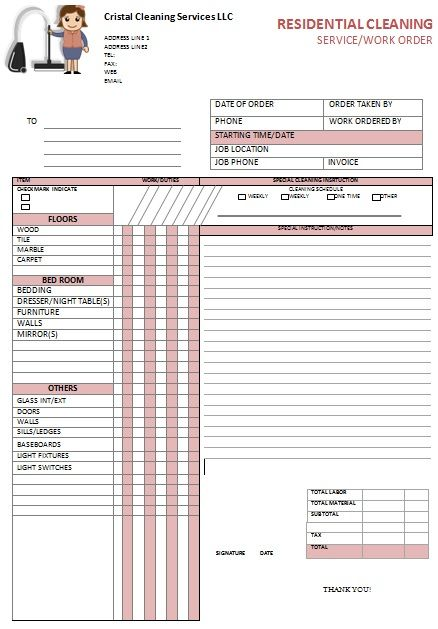 kitchen hood cleaning invoice Free Cleaning Invoice Templates - free job card template