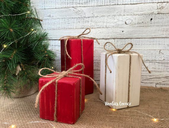 Primitive Christmas decor, Wood Christmas presents, Wood Christmas