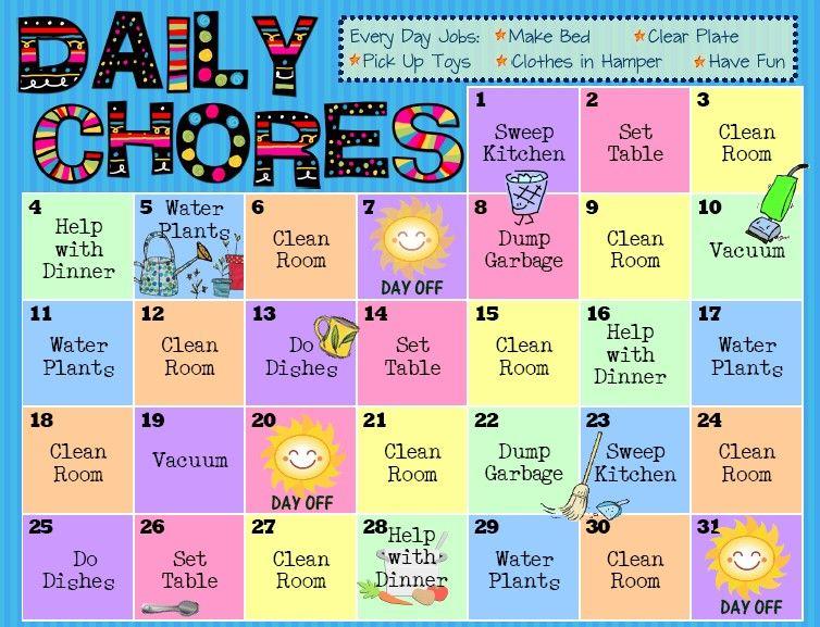 Daily Chores Chart Kids- chores and money savings Pinterest - daily chore