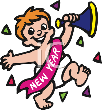 iclipart little boy with a new year sash and noisemaker
