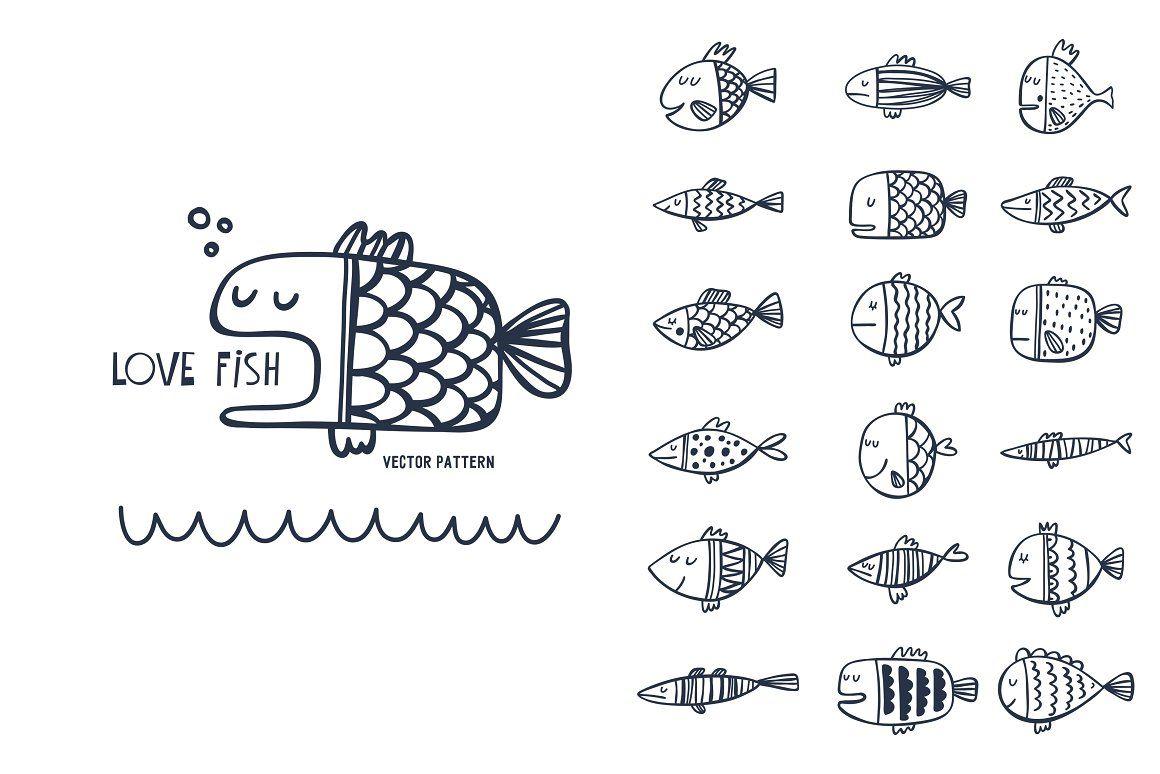 Cartoon Fish Pattern Smeshnaya Ryba Illyustracii Grafika