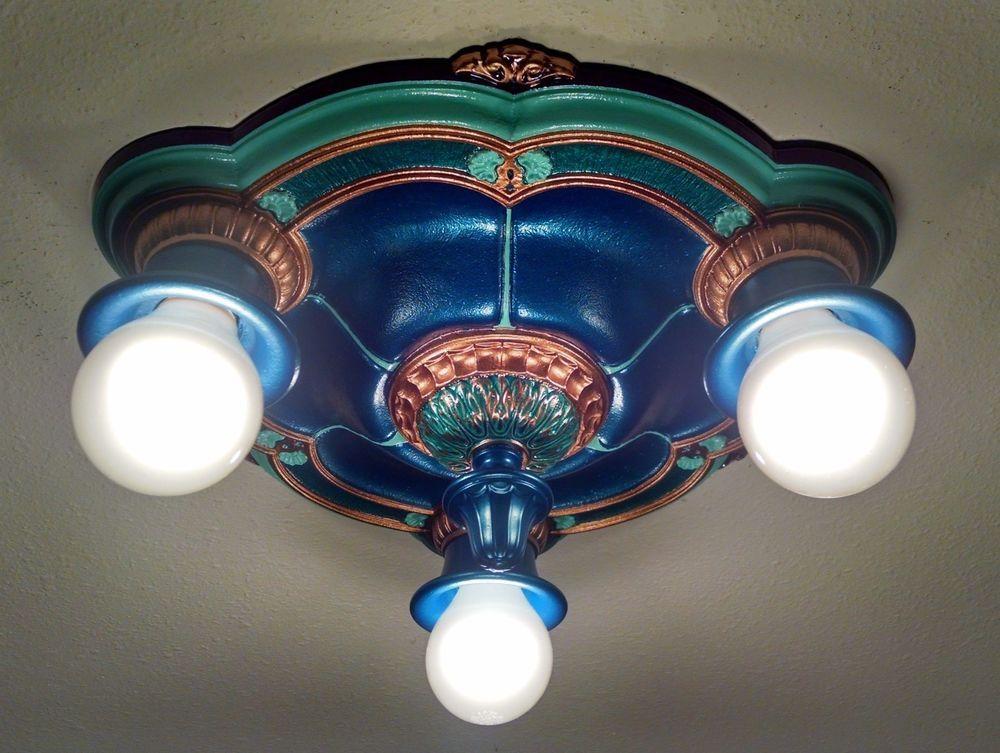 Art deco light fixture cast iron lightolier vintage flush