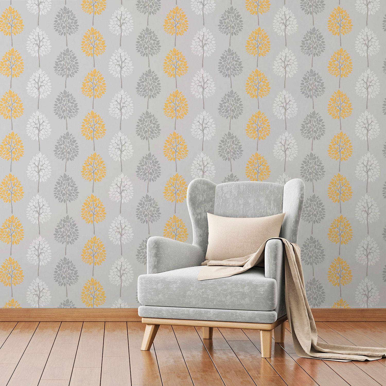 Fine décor Grey Tree Glitter Wallpaper Living room grey