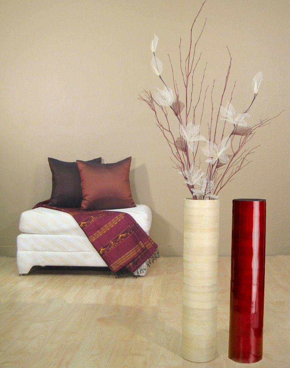 Bamboo Tall Cylinder Floor Vase with Ivory Lilies and Red