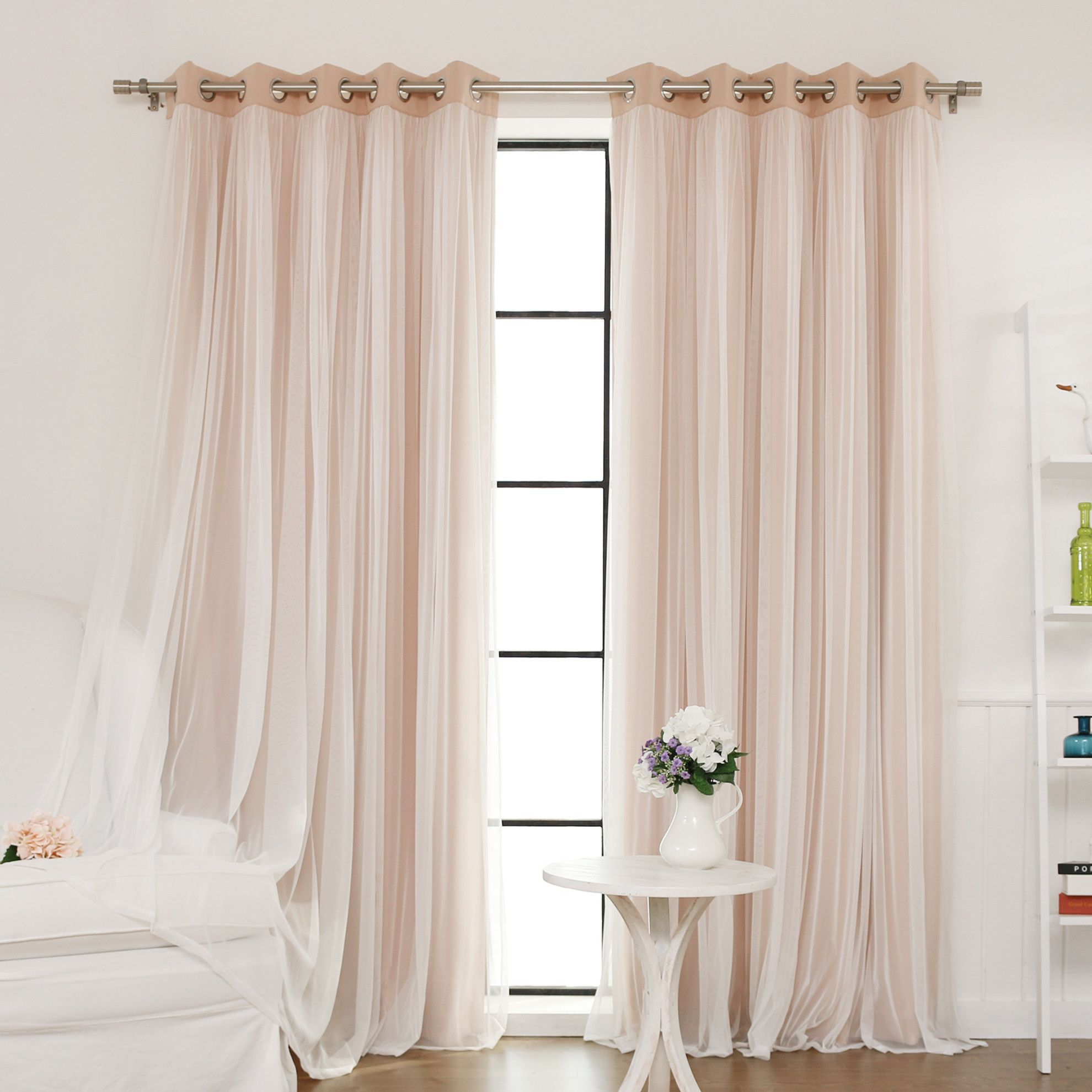 Inc faux silk blackout curtain set of 2 light pink hautelook - Best Home Fashion Inc Lace Tulle Overlay Blackout Curtain Panel Reviews Wayfair