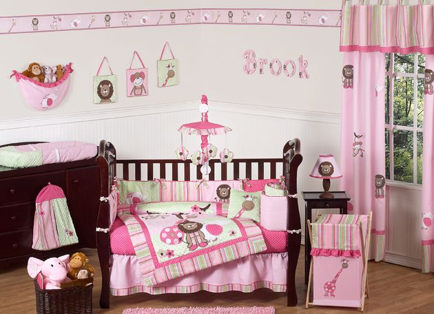 pink green animal jungle themed 9p baby girl crib bedding set sweet