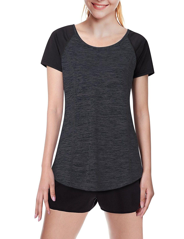 Women's Activewear Running Sport Shirts Short Sleeve Round Neck Workouts T-Shirt  Tops - Black - C118C3RNDTL | Sports shirts, Womens activewear, Clothes for  women