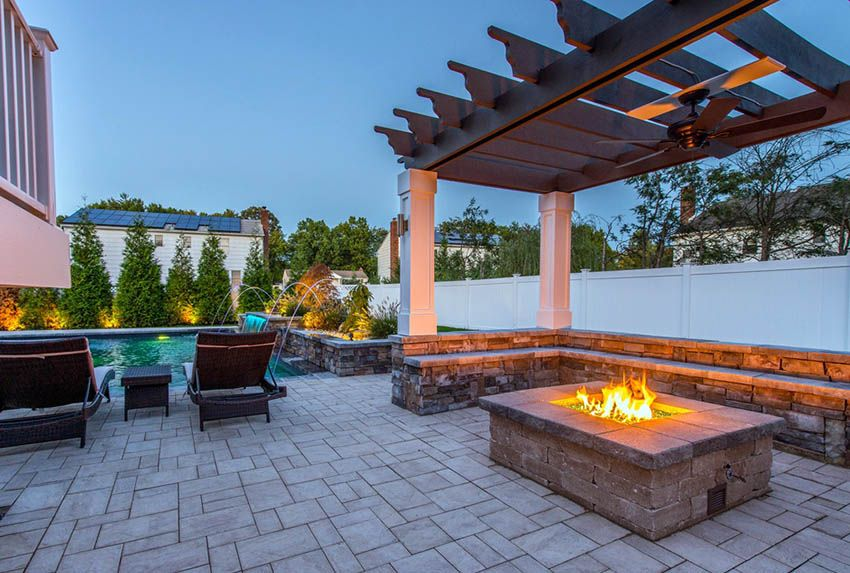 Pergola With Fire Pit Backyard Designs Pergola Fire Pit Backyard Modern Backyard